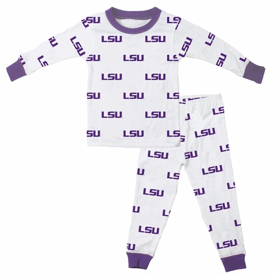 Wes & Willy Collegiate Baby / Toddler Boys LSU Tigers Pajamas - All Over Print