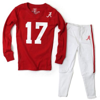 Wes & Willy Collegiate Boys Red Football Pajamas - Alabama Crimson Tide - #17