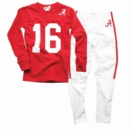 Wes & Willy Collegiate Boys Red Football Pajamas - Alabama Crimson Tide - Jersey Number Varies