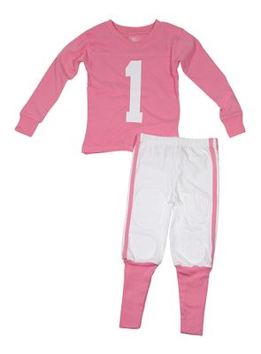 Wes & Willy Girls Pink Football Jersey Pajamas - #1