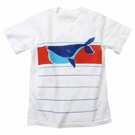 Wes & Willy White T-Shirt - Red Stripe with Blue Whale