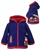 Widgeon Boys Blue Fire Truck Hooded Applique Fleece Coat