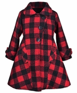 Widgeon Girls Flounce Coat - Red / Black Plaid