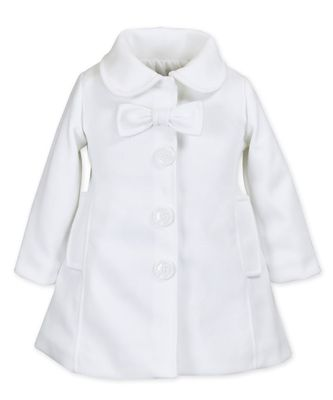 Widgeon Girls Bow Car Coat - Ivory