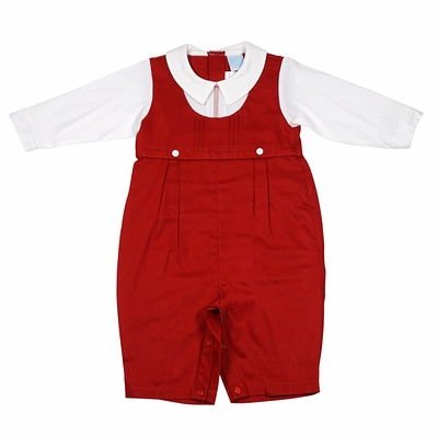 Will'Beth Baby Boys Christmas Red Longall with Embroidered Shirt