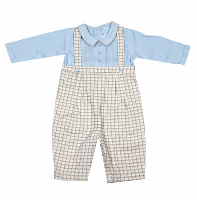 Will'Beth Baby Boys Tan / Blue Plaid Romper - Embroidered Shirt