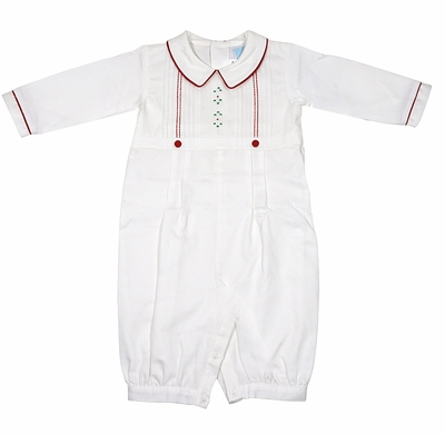 Will'Beth Baby Boys Winter White Romper with Christmas Red Embroidery