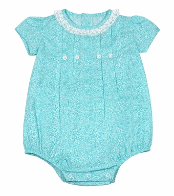 Will'Beth Baby Girls Aqua Floral Bubble with Lace Trim