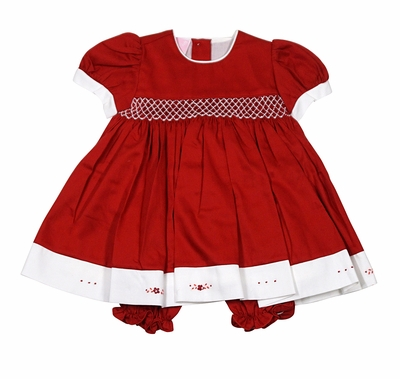 Will'Beth Baby Girls Smocked Red Christmas Dress with Bloomers