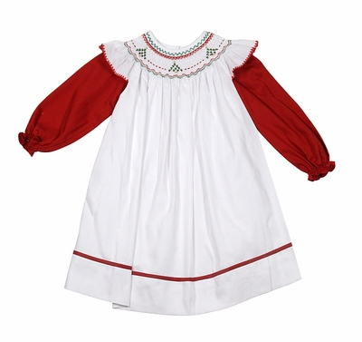 Will'Beth Baby / Toddler Girls White Pinafore Christmas Dress - Long Red Sleeves - Smocked Christmas Trees