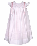 Will'Beth Baby / Toddler Girls White Smocked Angel Sleeve Dress with Pink Bows - White over Pink