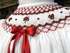 Will'Beth Baby / Toddler Girls Winter White Bishop Dress - Smocked in Red for Christmas