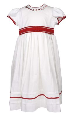 Will'Beth Girls Ivory Christmas Dress - Red Embroidery and Sash