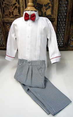Will'Beth Toddler Boys Black / White Houndstooth 3 Piece Pants Set with Bow Tie