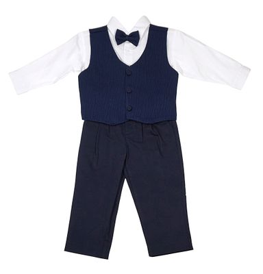 Will'Beth Baby / Toddler Boys Navy Blue Pants - Vest - Shirt - Bow Tie Outfit