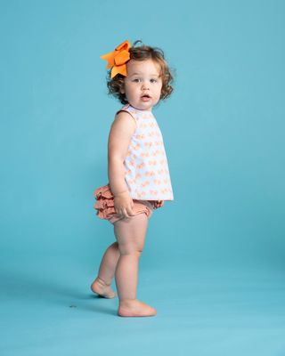 Yellow Lamb Baby / Toddler Girls Chloe Reversible Bloomers Set - Blue with Orange Crabs