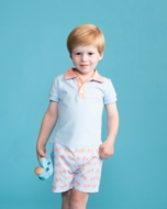 Yellow Lamb Boys Alexander Shorts Set - Blue with Orange Crabs