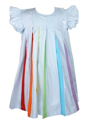 Yellow Lamb Girls Amazing Blue Rainbow Colors Flutter Sleeve Dress