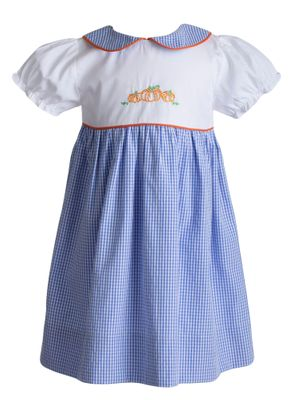 Yellow Lamb Girls Blue Gingham Peyton Pumpkin Dress