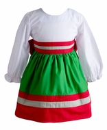 Yellow Lamb Girls Elaine Christmas Dress - Big Bow on Back - Green and Red