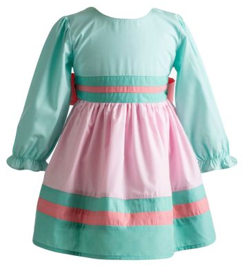 Yellow Lamb Girls Elaine Dress - Big Bow on Back - Green and Pink
