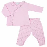 Magnolia Baby Girls Zara and Zane's Classics Embroidered Ruffle Crossover Footed Pant Set - Pink