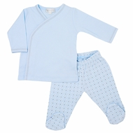 Magnoia Baby Boys Zara and Zane's Classics Crossover Footed Pant Set - Blue