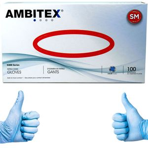 Ambitex Nitrile Powder Free Gloves Small 100 Count Blue