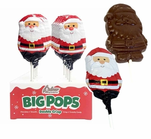 Big Chocolate Santa Double Crisp Lollipop 18 Count