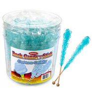 Blue Rock Candy Sticks Cotton Candy Wrapped 36 Count