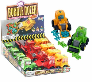 Bulldozer Toy With Bubble Gum Rocks 12 Count