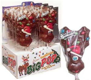 Chocolate Reindeer Lollipop 3oz  (One Lollipop)