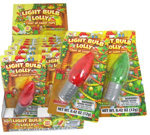 Christmas Light Up Bulb Lollipops 12 Count