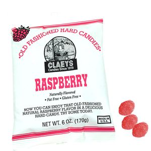 Claey's Natural Raspberry Old Fashion Hard Candies 6oz Bag