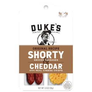 Dukes Shorty Sausages & Cheddar Cheese Crisps 12 Count
