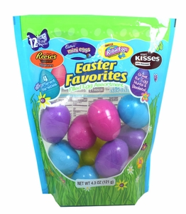 Easter Favorites - Plastic Eggs Filled With Candy 12 Count (Reese's, Kisses, Cadbury Mix)
