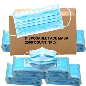 Face Masks Disposable 2000 Count CASE 3 Ply
