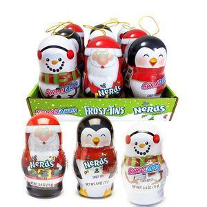 Frost Tins Santa, Snowman, Penguins With Candy 12 Count