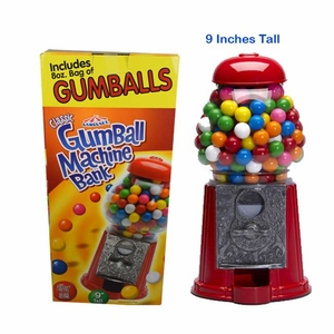 "Gumball Machine & Bank 9"" With Gumballs"