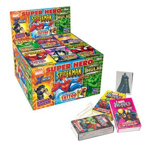 Marvel Hero Sticks With Tattoo 30 Count