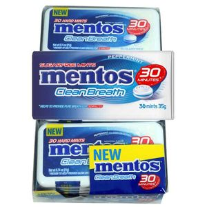 Mentos Clean Breath Mints Peppermint 12 Count