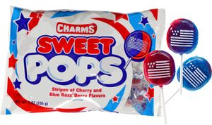 Patriotic Flag Charms Sweet Lollipops