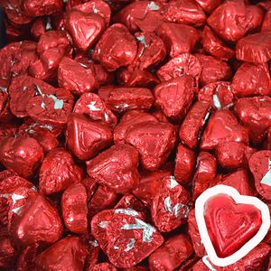 Red Chocolate Hearts 24lb Bulk (1075 Count)