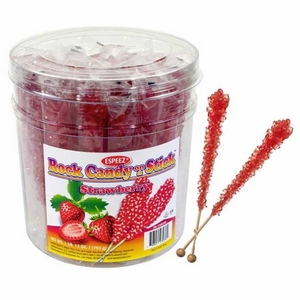 Red Strawberry Rock Candy Sticks 36 Count