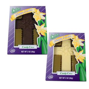 Solid Chocolate Cross 2oz  White or Milk Chocolate