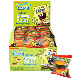 Sponge Bob Crabby Patties 36ct Gummi Burgers