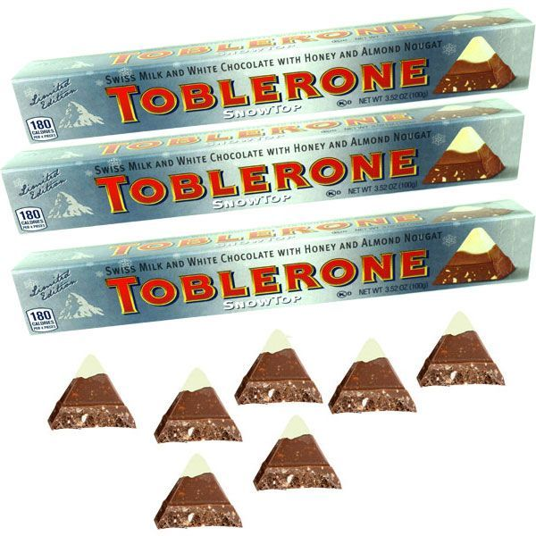 Toblerone Chocolate Snow Top Bar 20 Count