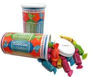 Tootsie Roll Bank With Tootsie Fruit Rolls