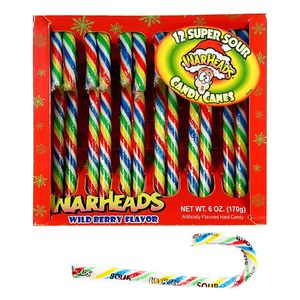 Warheads Super Sour Candy Canes 12 Count