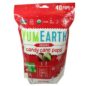 "YumEarth Organic Candy Cane ""Lollipops"" 40 Count"